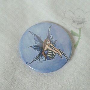 Y2K blue Gothic fairy button